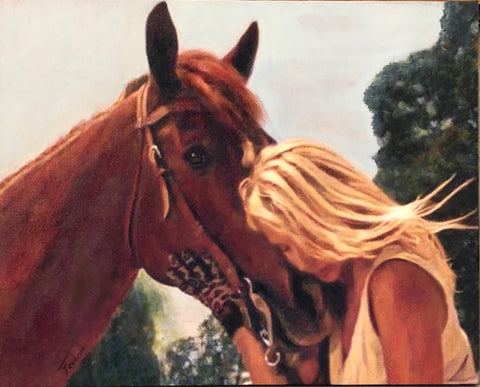 "Horse-Whisper Oil on Canvas 16""x20"""