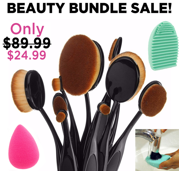10pc Professional Oval Brush Set + Blender Sponge + Brush Cleansing Pad!