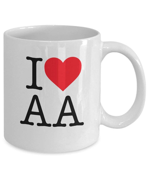 I Love AA - 12 Step Recovery White 11oz Mug-12 Step Tees