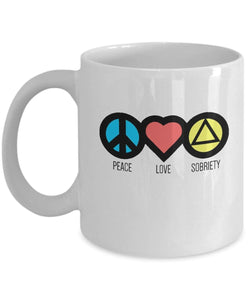 Peace Love & Sobriety - 12steptees.com