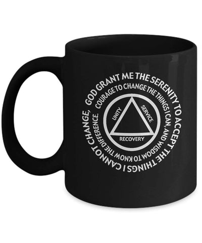 'AA Serenity Prayer' Mug 2 - Recovery 11oz Black Gift Mug-12 Step Tees