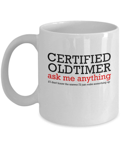 'Certified Old-Timer' - 12 Step White 11oz Mug-12 Step Tees
