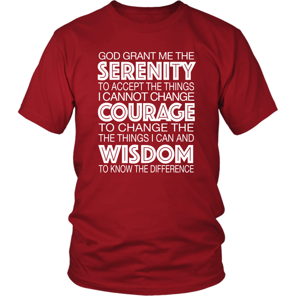 The Serenity Prayer - AA Unisex T-Shirt SQ-12 Step Tees