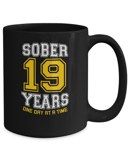 Nineteen Years Sober - AA Sobriety 19th Anniversary Black 11/15oz Mug - 12steptees.com