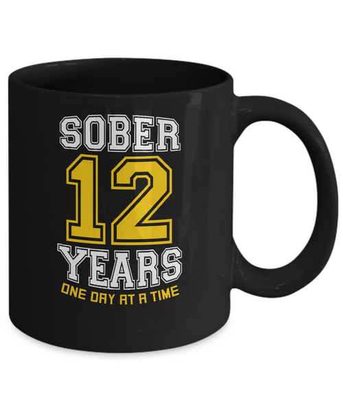 Twelve Years Sober - AA 12th Anniversary Black 11/15oz  Mug - 12steptees