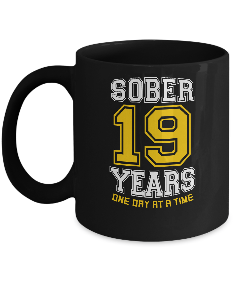 Nineteen Years Sober - AA Sobriety 19th Anniversary Black 11/15oz Mug-12 Step Tees