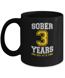 Three Years Sober - AA 3rd Anniversary Black 11/15oz Mug-12 Step Tees