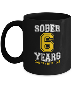 Six Years Sober - AA 6th Anniversary Black 11/15oz Mug-12 Step Tees