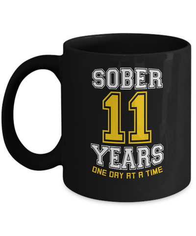 Eleven Years Sober - AA Sobriety 11th Anniversary Black 11/15oz Mug-12 Step Tees