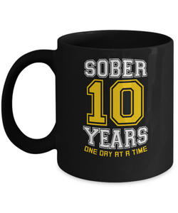 Ten Years Sober - AA 10th Anniversary Black 11/15oz Mug-12 Step Tees