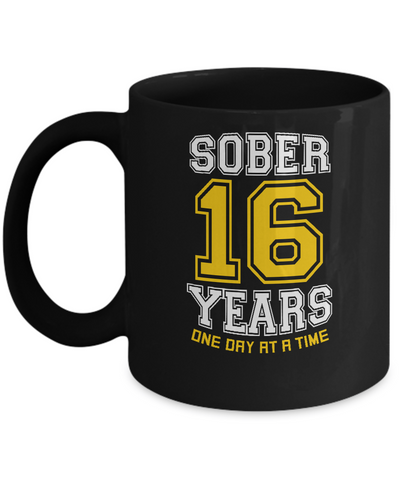 Sixteen Years Sober - AA 16th Anniversary Black 11/15oz Mug-12 Step Tees