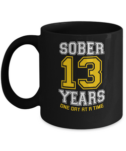 Thirteen Years Sober - AA 13th Anniversary Black 11/15oz Mug-12 Step Tees