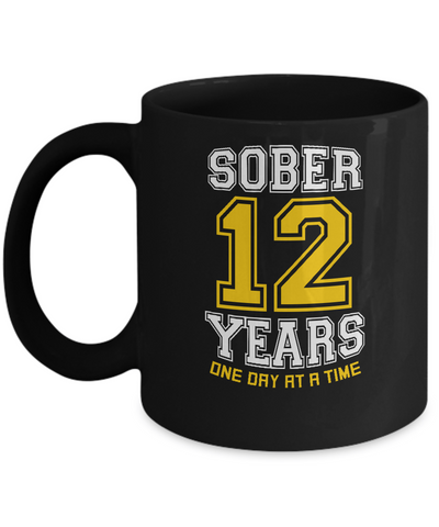 Twelve Years Sober - AA 12th Anniversary Black 11/15oz Mug-12 Step Tees