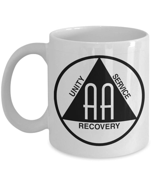 'Alcoholics Anonymous Logo' - AA 12 Step White Coffee Mug - 12steptees
