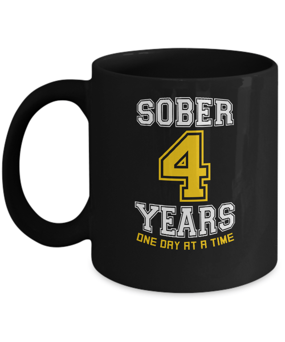 Four Years Sober - AA Sobriety 4th Anniversary Black 11/15oz Mug - 12steptees.com