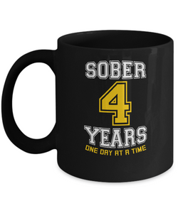 Four Years Sober - AA Sobriety 4th Anniversary Black 11/15oz Mug-12 Step Tees