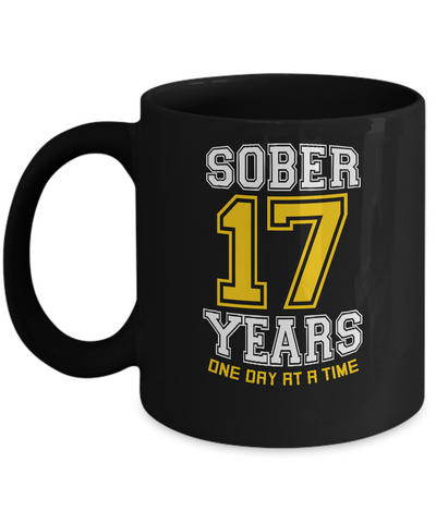 Seventeen Years Sober - AA 17th Anniversary Black 11/15oz Mug-12 Step Tees