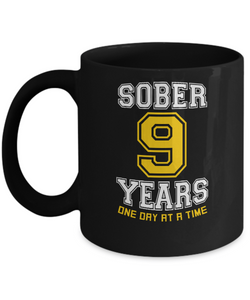 Nine Years Sober - AA Sobriety 9th Anniversary Black 11/15oz Mug-12 Step Tees