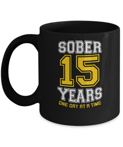 Fifteenth Years Sober - AA Sobriety 15th Anniversary Black 11/15oz Mug-12 Step Tees