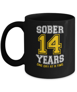 Fourteen Years Sober - AA Sobriety 14th Anniversary - 11 & 15oz Mugsg - 12steptees