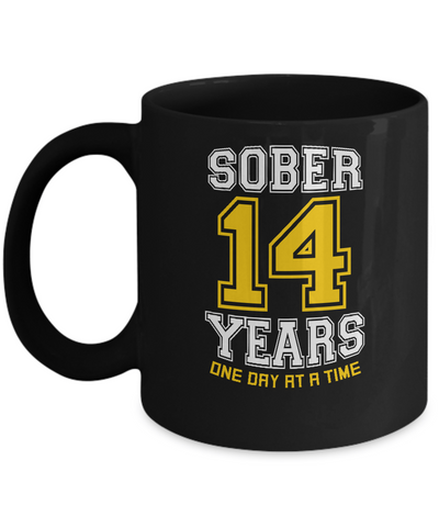 Fourteen Years Sober - AA Sobriety 14th Anniversary Black 11/15oz Mug-12 Step Tees