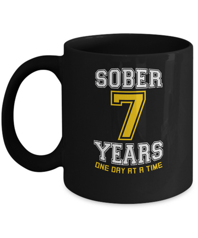Seven Years Sober - AA 7th Anniversary Black 11/15oz Mug-12 Step Tees