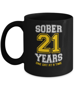 Twenty-One Years Sober - AA 21st Anniversary Black 11/15oz Mug-12 Step Tees
