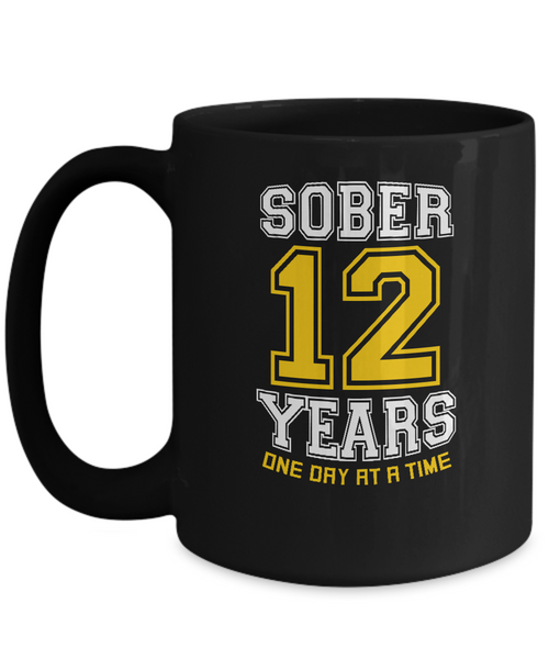 Twelve Years Sober - AA 12th Anniversary Black 11/15oz  Mug - 12steptees.com