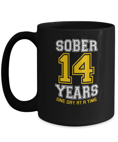 Fourteen Years Sober - AA Sobriety 14th Anniversary - 11 & 15oz Mugsg - 12steptees.com