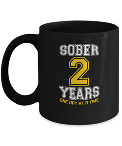 Two Years Sober - AA 2nd Anniversary Black 11/15oz Mug-12 Step Tees