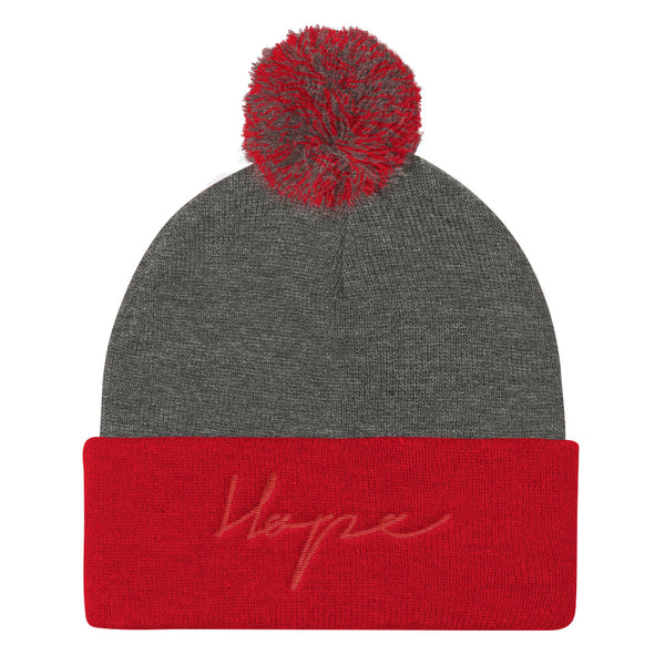 HOPE Pom Pom Knit Cap (Flat Embroidery)