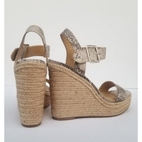 Faux snakeskin wedges with straw heel
