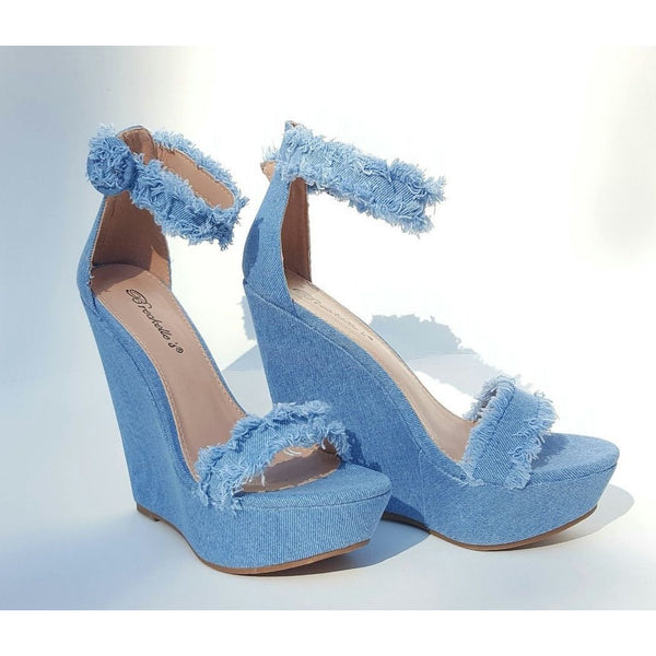 FRENZY - Denim Wedges