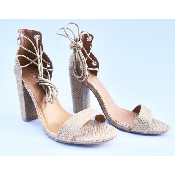 MICHEL - Nude Lace-Up Heel - FINAL SALE