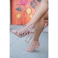 EDEN - Mauve With Clear Chunky Heels - FINAL SALE