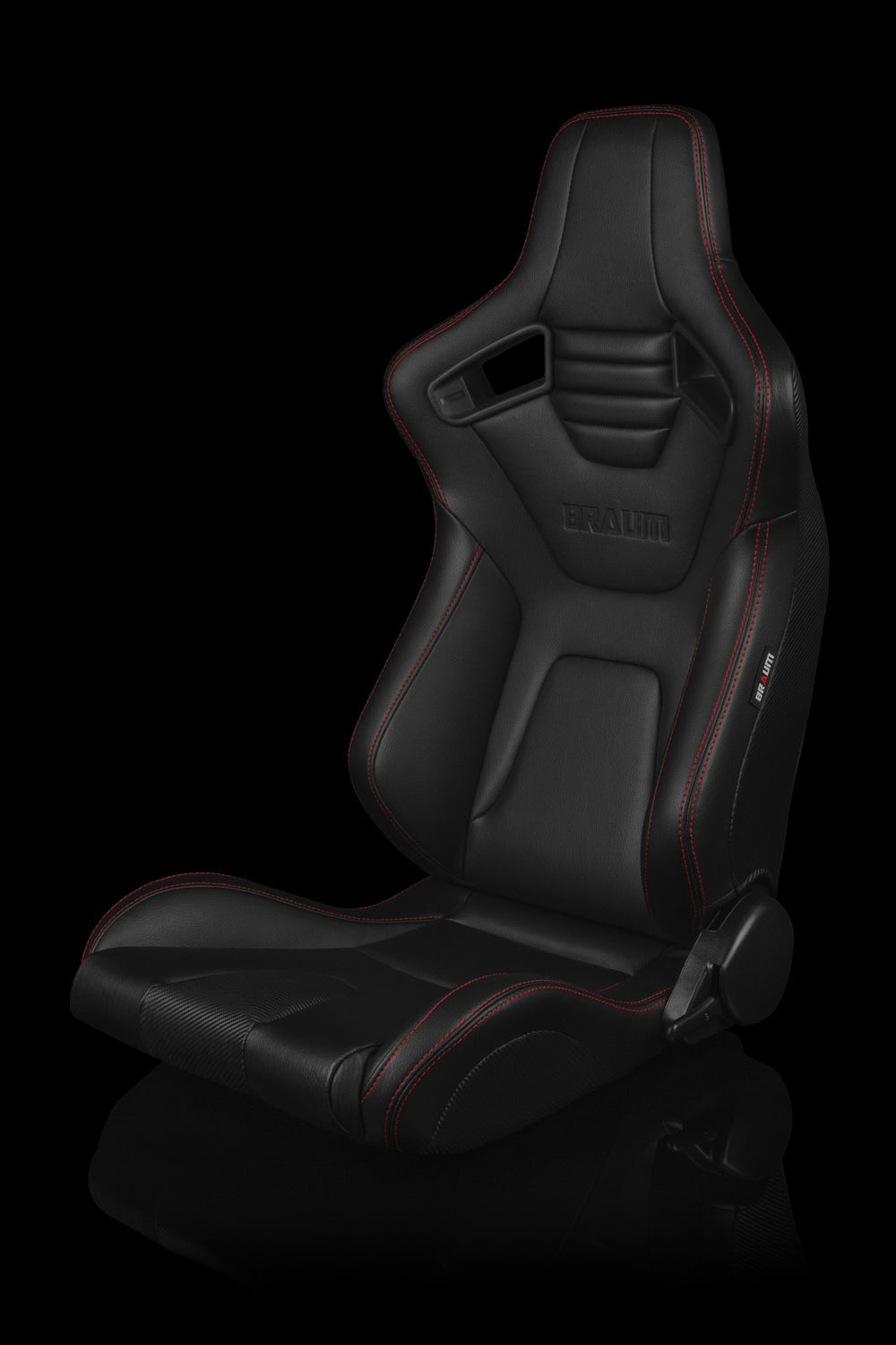 Elite-X Series Sport Seats - Black Leatherette / Carbon Fiber (Red Stitching)