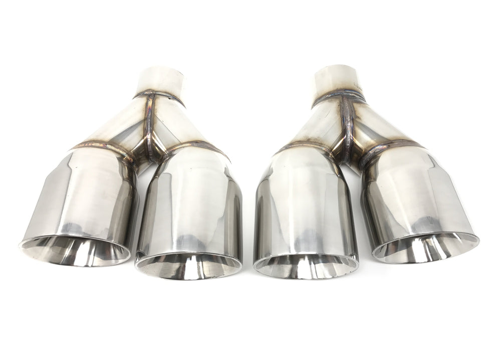 "Dual 3.5"" Double Wall Stainless Steel Exhaust Tips - Slanted Cut & Staggered Length"