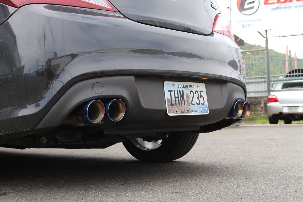 "Dual 3.5"" Double Wall Stainless Steel Burnt Exhaust Tips - Staggered Length & Slanted Cut"