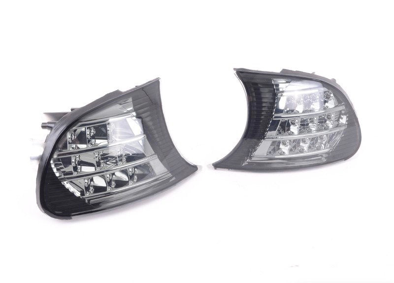 BMW E46 M3 and Coupe (Pre-LCI) (For vehicles with production date before 01/2001)- Smoked LED Front Corner Lights with Assembly
