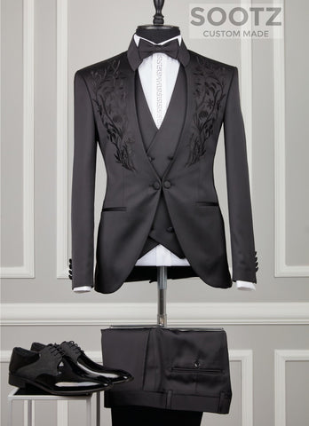 Black Mandarin Collar Suit Set