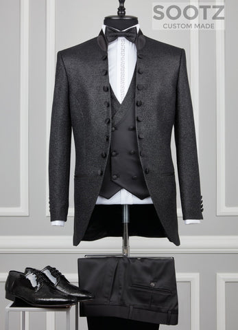 Black Mandarin Collar Suit Set - Open Button