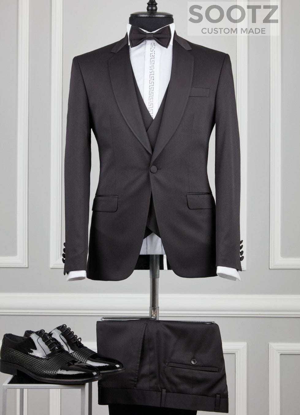Black 3 Piece Tuxedo Set - Notch Lapel