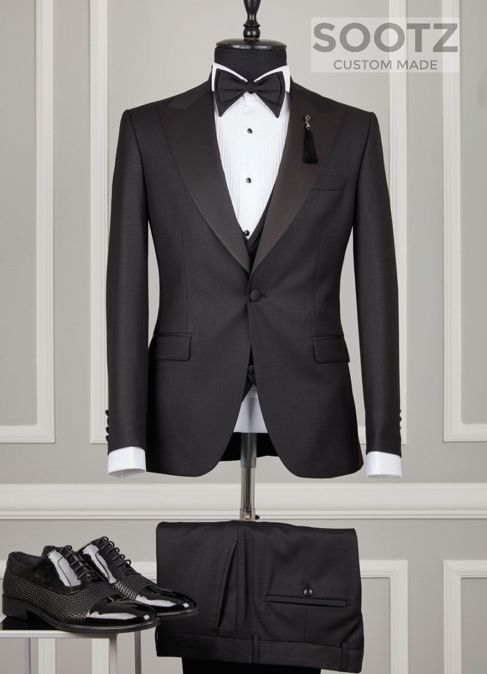 Black 3 Piece Tuxedo Set - Peak Lapel