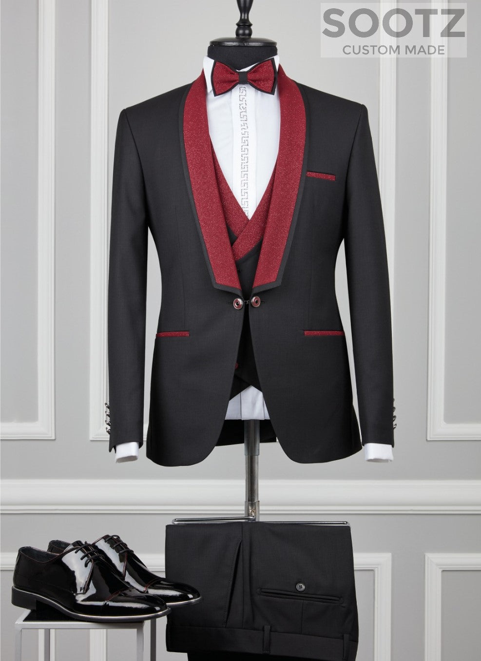 Black Tuxedo Set - Red Shawl Lapel Contrast