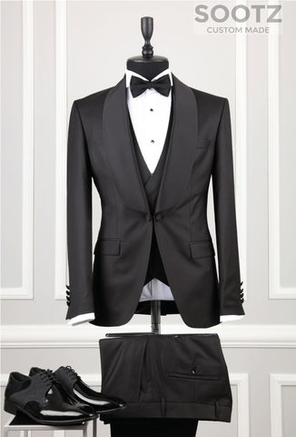 Black 3 Piece Tuxedo Set - Shawl Lapel