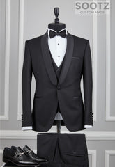 Black 3 Piece Tuxedo Set - Shawl Lapel Narrow