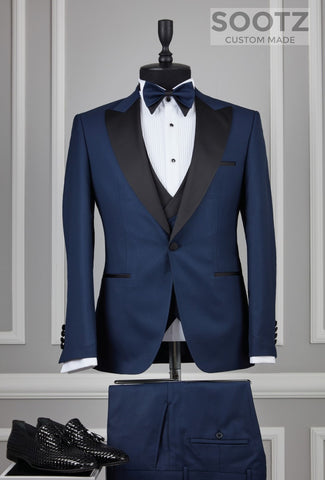 Prussian Blue 3 Piece Tuxedo Set - Peak Lapel