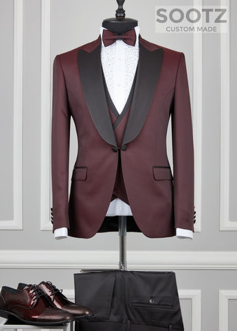 Wine 3 Piece Tuxedo Set - Peak Lapel