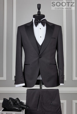 Charcoal 3 Piece Tuxedo Set - Peak Lapel
