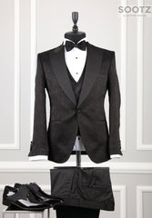 Black Floral Pattern 3 Piece Tuxedo Set - Peak Lapel